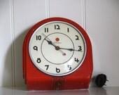 Vintage Telechron Buffet Kitchen Clock Deco Red