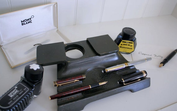 Vintage Inkwell and Fountain Pen Holder Desk SetFountain Pen And Inkwell