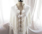 SALE Winter Blanc Snow Soft Elegant Classy Fringe Shawl Cover Up Butterfly Wings Cape Poncho