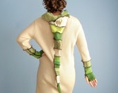 Lucky Charm Mini Pixie Sweater Sweater Coat - OOAK Upcycled Sweater Jacket Green Tan