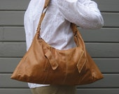 Handbag made from soft tan leather jacket