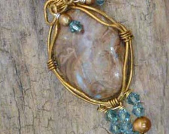 Swirling Wire-wrapped Jasper Pendant on a Woven Ribbon Necklace