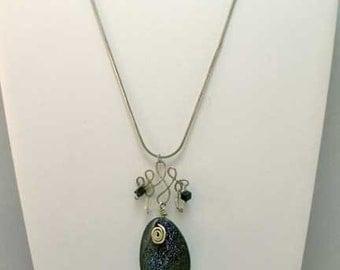 Sterling Wire-work Blue Goldstone Pendant