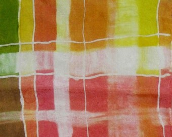 Coral, olive watercolor plaid handpainted silk scarf