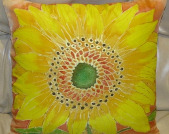 Sunflower Handpainted 14 in Silk Pillow Cover