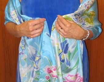 Silk shawl Handpainted Country Garden design