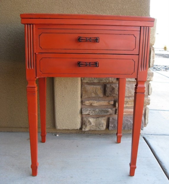 Refinished sewing table or small desk in red by - Small sewing machine table ...