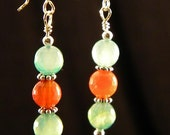 Red and Green Agate Sterling Silver Earrings