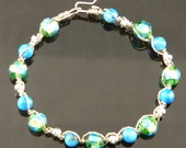 Howlite Turquoise and Glass Beaded Sterling Silver Bracelet