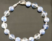 Lapis and Blue Quartz Braided Sterling Silver Bracelet