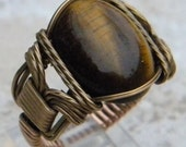 Tiger's Eye Vintage Bronze Ring