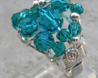 Cocktail ring, statement ring, blue crystal ring, wire wrapped crystal ring, turquoise ring, sterling silver ring, blue cocktail ring