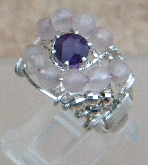 Amethyst and Rose Quartz Ring