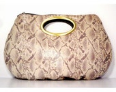 Handmade Python Clutch with Bronze Plated Handle - 20% Off for Black Friday Etsy / Cyber Monday Etsy with Additional Half Off Shipping