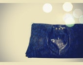 Snake Leather Pleated Clutch