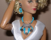turquoise-dyed howlite jewelry for fashion dolls