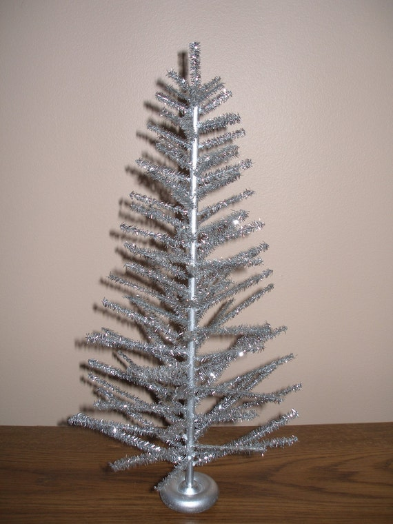 Tabletop silver aluminum christmas tree