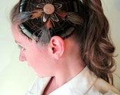 CLEARANCE - Wild Turkey Feather Flower Fascinator with Vintage Button