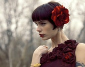 Midnight in the Garden - Red Silk Rose Fascinator with Black Netting - A Modern Take on the Vintage Pillbox Hat - Ships 6/13
