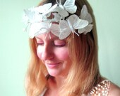 Butterfly Woodland Crown in Snowfall - Crystal White Feather Butterfly and Flower Asymmetrical Headband Headpiece