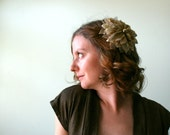 CLEARANCE - Giant Gold Poinsettia Fascinator--Holiday Hair Clip