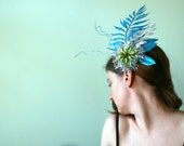CLEARANCE - Glitter Headpiece in Aqua Lime and Silver - Hair Flourish of Glittery Leaves and Poinsettia Flower - Holiday - Formal