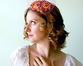 Spring Cocktail Hat - Tiny Hand Sewn Flowers with Swarovski Crystal Centers and Millinary Netting -Easter - Wedding