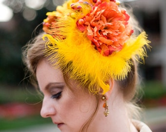 Floral Victorian Headpiece in Anne - Gold Orange and Red Flower and Feather Hat - Marie Antoinette - Steampunk - Formal or Costume Piece