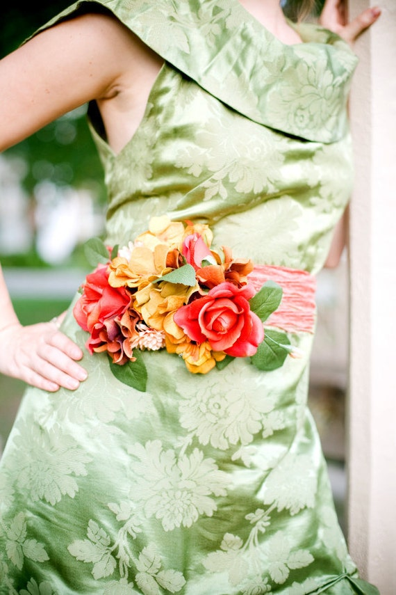 SALE - Orange Pink and Gold Romantic Floral Sash Attachment - Weddings - Formals - Easter - Spring - Autumn - Summer