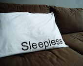Handpainted/Screen Ink Pillowcase Set, SLEEPLESS Design - 100% Cotton