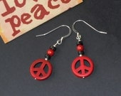 SALE Red And Black Peace Sign Earrings With Coral And Heishi Shell Beads And Silver Hooks