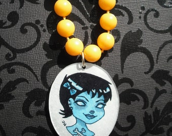 Zombie Girl - Hand painted necklace