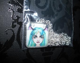 Morrigan, darkstalkers- Art necklace