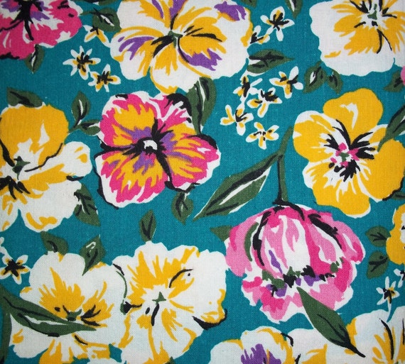 Cotton yellow and pink flowers teal background by ...