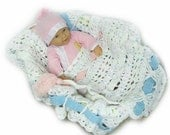 Ribbons of Color Crocheted Baby Blanket, pink & blue, Baby Afghan, Baby Shower