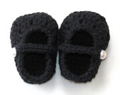 Black Mary Jane Baby Slippers-FREE SHIPPING