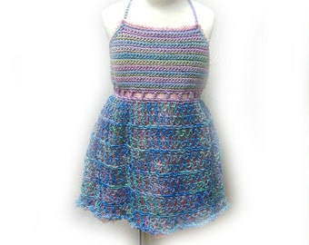 Blue and Pink Toddler Sundress with Petticoat and Matching Headband, Blue Baby Sundress, Blue & Pink Sundress, Party Sundress