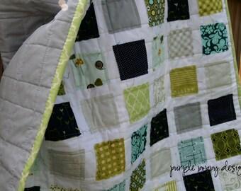 custom scrappy ticker tape baby quilt (30x36 in.)
