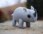 Tiny Stuffed Rhino Toy - Felt Animal