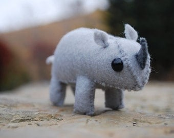Tiny Stuffed Rhino Toy - Felt Animal
