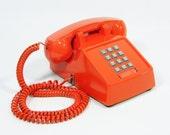 Vintage telephone tangerine orange push button phone Reserved