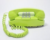 1979 Vintage Phone chartreuse push button telephone RESERVED