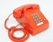 Vintage Phone tangerine orange push button telephone