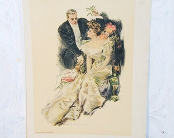 MISTLETOE 1906 romantic Print Howard Chandler Christy