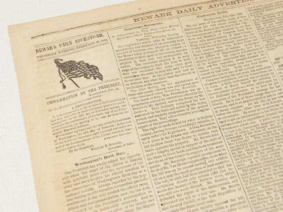 1862 New Jersey Newspaper