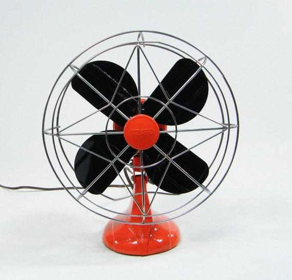 Vintage Electric Fan / oscillating / tangerine orange color