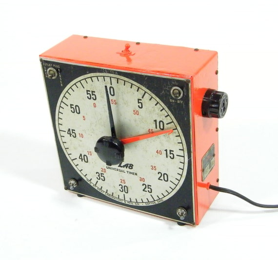 Vintage Industrial Timer upcycled tangerine orange