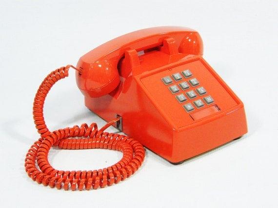 vintage telephone tangerine orange push button phone reserved. Black Bedroom Furniture Sets. Home Design Ideas