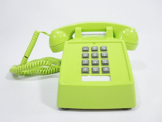 Vintage Phone chartreuse push button telephone