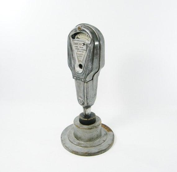 Vintage Nickel Parking Meter on a wooden base